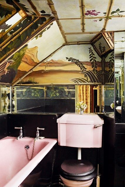 Discover the best design ideas for bathrooms on HOUSE - design, food and travel by House & Garden, including this Rousseau-inspired bathroom with mural walls and a pink bath