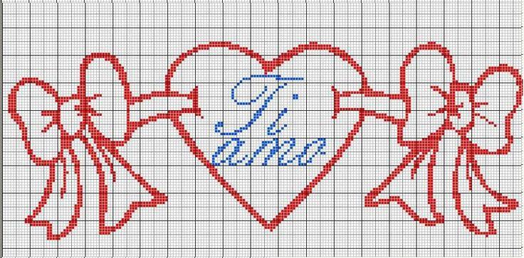 Gráficos de Ponto Cruz românticos para bordar, especial Dia dos namorados.