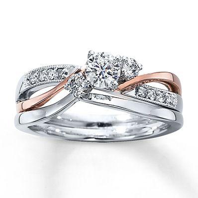 Rose Gold/White Gold two-tone engagement ring + matching band (Everything I