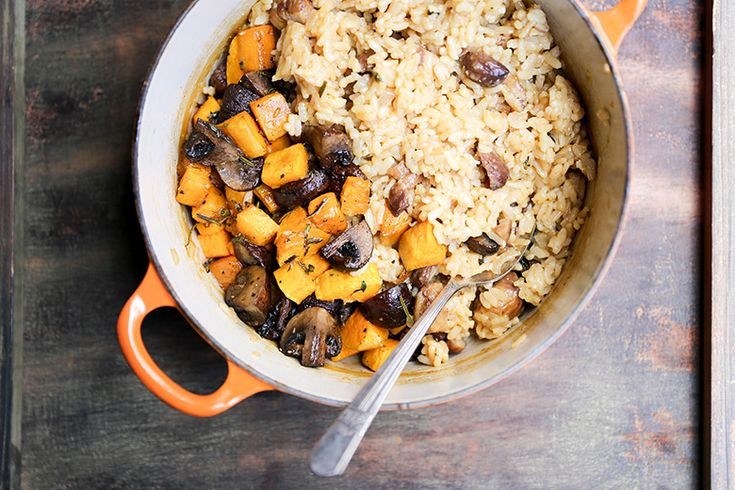 Chestnut, Mushroom and Butternut Squash Baked Risotto | butternut squash risotto recipe | mushroom risotto recipe | potluck at ohmyveggies.com