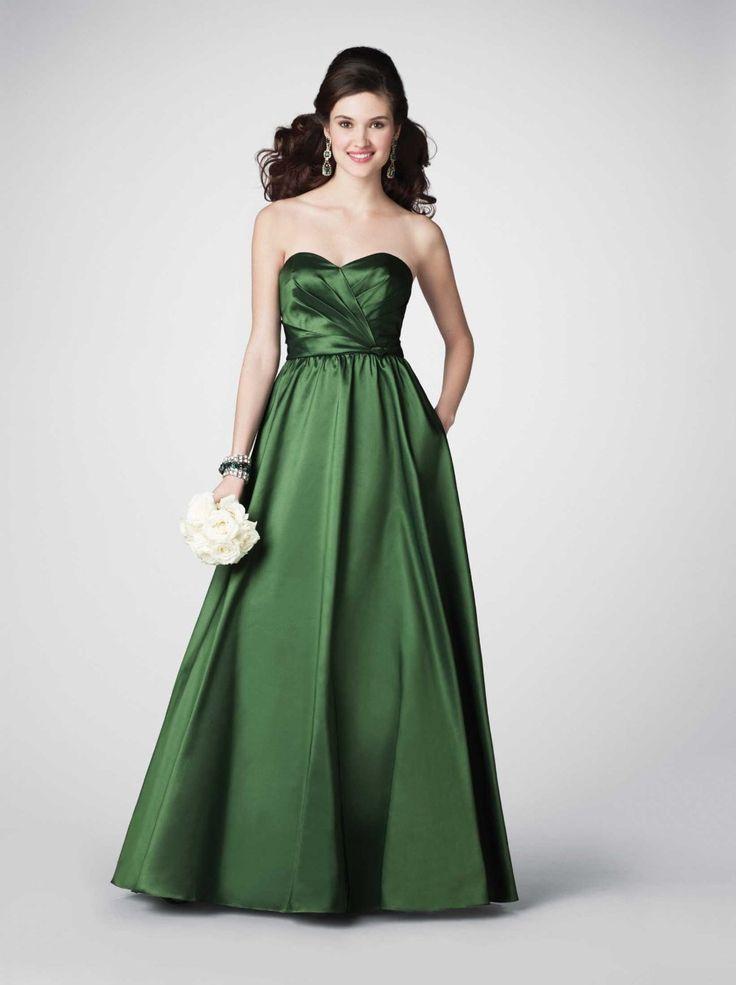 Sweetheart-Long-Green-Taffeta-Bridesmaid-Dress