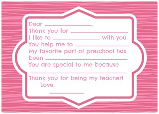 Teacher Appreciation Thank You Card With Writing Prompts Child