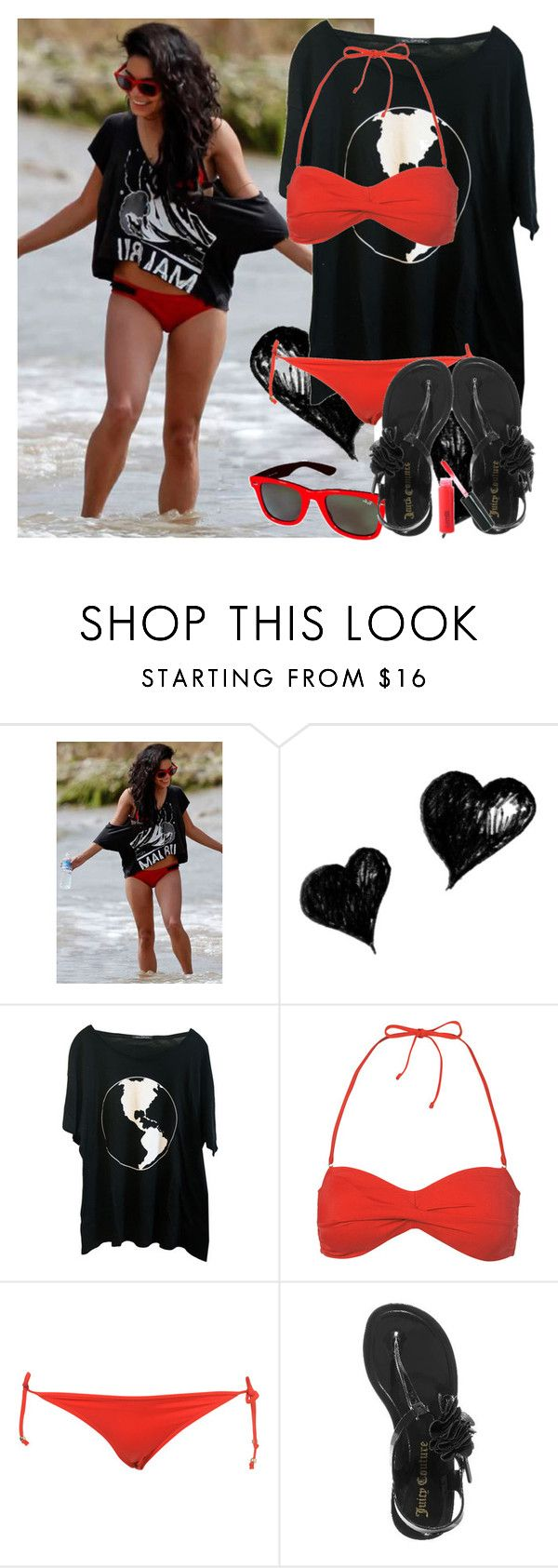 """""""220. vanessa"""" by rebby93 ❤ liked on Polyvore featuring Tavik Swimwear, Ray-Ban, Wildfox, Juicy Couture, MAC Cosmetics and vanessa hudgens"""