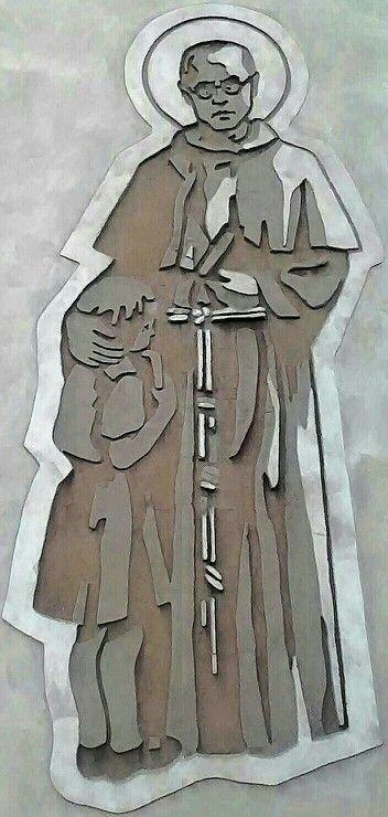 Fresk Ojca Kolbe na Domu Katechetycznym przy Probostwie Kościoła Farnego pw.Św.Małgorzaty w Gostyniu.