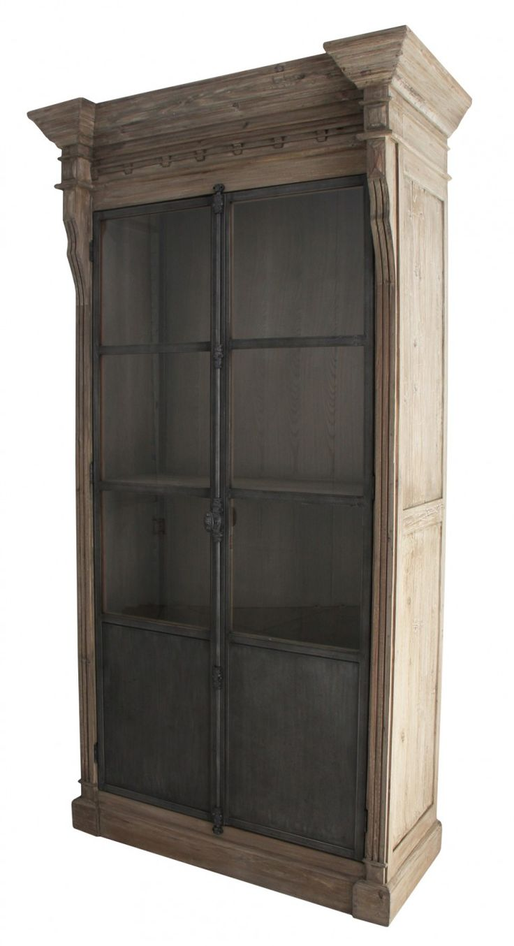 Evoking the architectural classicism of turn-of-the-century design, the Column Cabinet features a striking combination of grey wash metal and weathered timber. Dental moulding, traditional French window drop bolt hardware and a sense of grandeur make the Column a true statement piece.