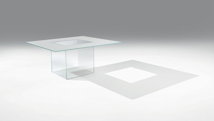 Casali :: Icaro Quadro Table with square top made of 15 mm extra-clear tempered glass with lacquered back supported by four 10 mm extra-clear glass panels assembled with lacquered metal crowns and finished with a 10 mm extra-clear glass floor-level sheet with lacquered back. Opaque lacquers.   Available colors White, Black, New Colors    Weight 160 kg
