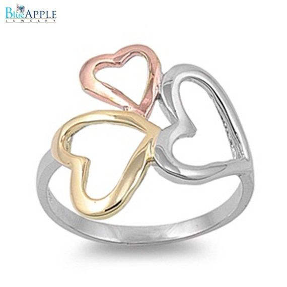 3 Three Tone Open Hearts Gold Plated Cocktail Ring Solid 925 Sterling Silver Plain Simple 3mm Band 3 Tone Ring Size 4-16
