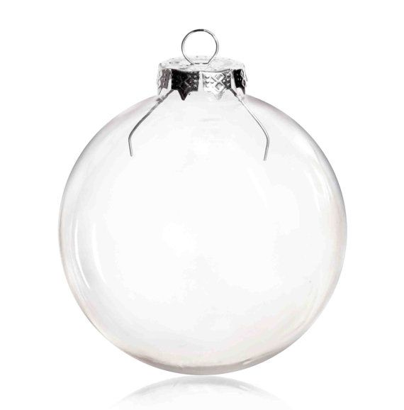 100 Pieces x DIY Paintable 3.15 Inch (80mm) Christmas Decoration Clear Glass  Round Ornament