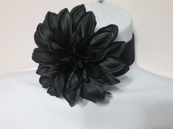 Large Fabric Flower Black Velvet Choker Necklace, Black Flower Choker, Flower Velvet Choker, Black Velvet Choker, Wide Choker Necklace, by ReigningCrownBeads on Etsy