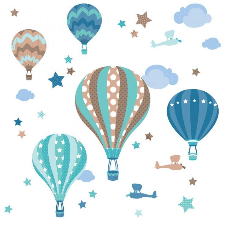 Wandfarben Taupe: Dinki Balloon Kinderzimmer Wandsticker Heißluftballons