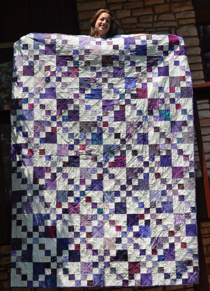 Purple quilt neice  double 4 patch