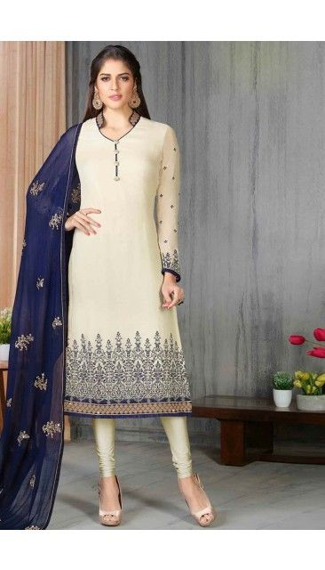 Cream Georgette Churidar Suit With Dupatta - DMV14656