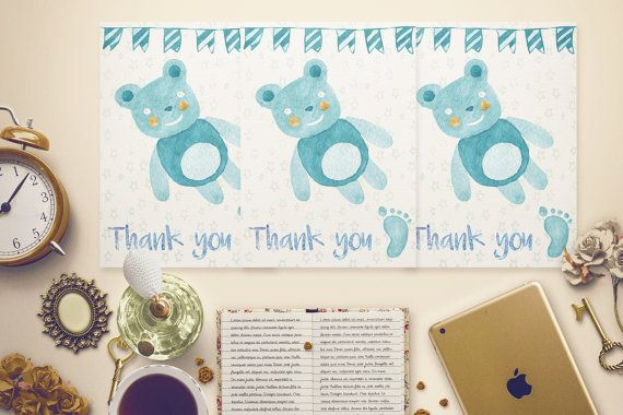 Baby Blue Bear Thank You Card Template by MintedCrafts on Etsy