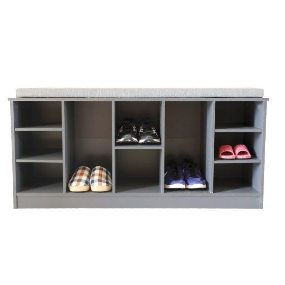 Wooden Shoe Cubicle Storage Entryway Bench with Soft Cushion for Seating