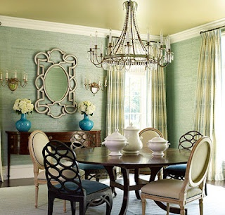 Cool chairs and I love the grass cloth in this amazing dining room.