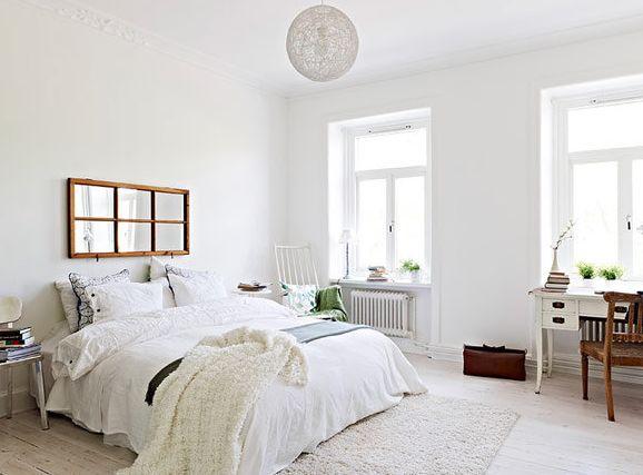 北欧インテリア寝室白コーデ