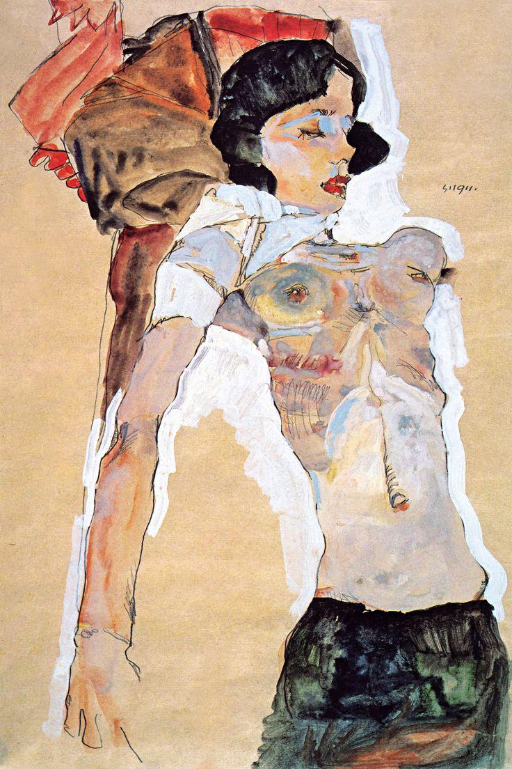 Lying Half-naked Woman by Egon Schiele - canvas print