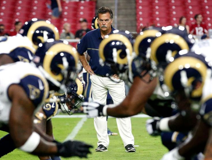 Rams vs. Cardinals Updated October 2, 2016:  17-13, Rams  -    Los Angeles Rams head coach Jeff Fisher watches his team prior to an NFL football game against the Arizona Cardinals, Sunday, Oct. 2, 2016, in Glendale, Ariz.