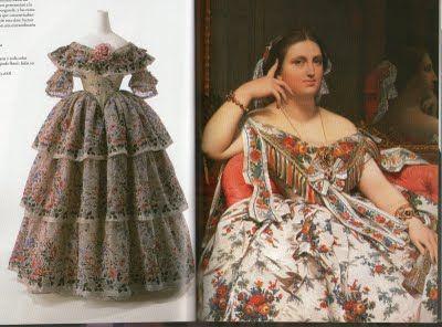 Es una época de esplendor del traje femenino. Las faldas seguían agrandándose a base del uso de cada vez mas enaguas, Fue muy habitual la moda de usar faldas cubiertas totalmente de volados ubicados de manera horizontal.