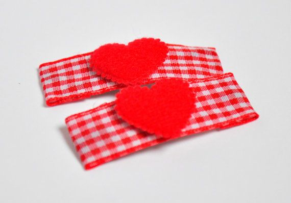 Red Heart Hairclips  Valentine Girls Hair by heatherstreasure, $4.00