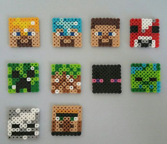 Perler bead Minecraft characters by CreativeMe4You on Etsy