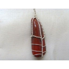 Wire wrapped jasper pendant, 50mm