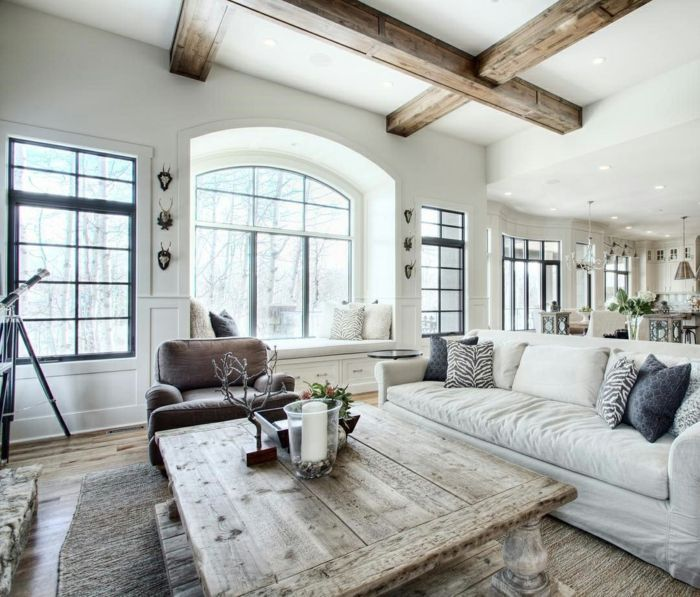 ideen fuer moderne wohnzimmer landhausstil