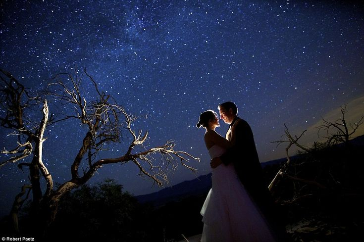Romantic: California-based Robert Paetz and Felicia Wong often take their subjects into the desert to escape light pollution and set up the perfect starry shot