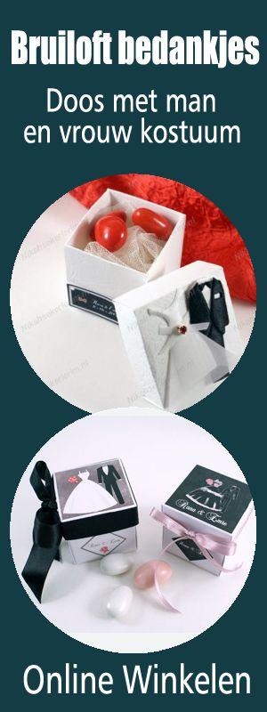Bezorging Nederland, België en Duitsland Optie 1 Mogelijk om een tekst en datum te plaatsen op naam kaartje op verzoek. #Bruiloft #bedankjes http://www.mijnbedankjes.nl/shop/huwelijksbedankjes/doos-met-man-en-vrouw-kostuum