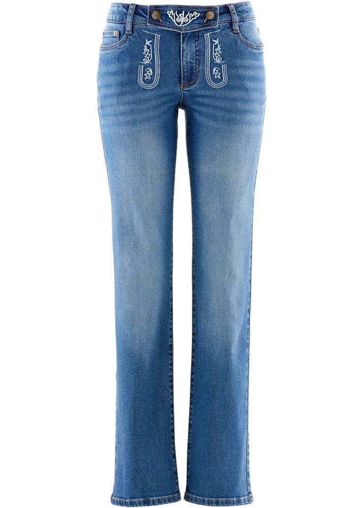 Trachten-Jeans, straight, mit Stickerei blue stone - Damen - bonprix.de