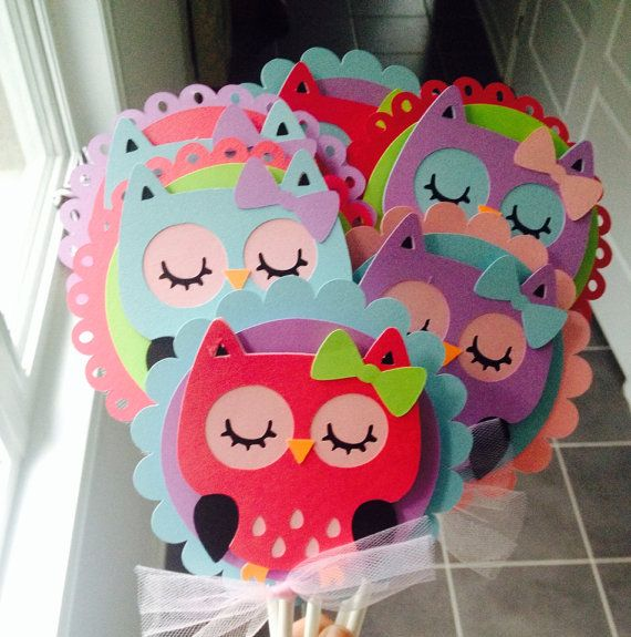 Owl Centerpiece Set of 6   by PerfectlyPaperBanner on Etsy