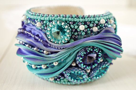 Bracelet Magic bracelet with shibori ribbon by RitaLovelyBeads