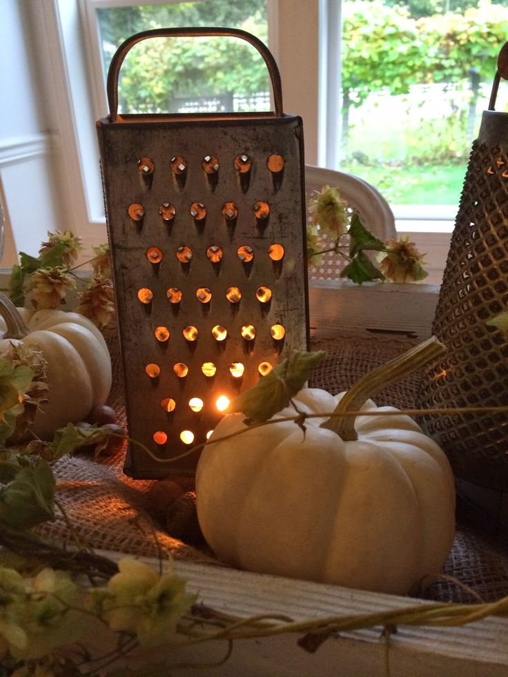 Little Farmstead: Burlap,  Box Grater Luminaries  and Hops Vines