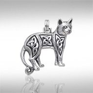 Magickal Cat Silver Pendant TPD333 -   Intricate Celtic knotwork decorates this charming cat, who is ready to accompany you on any endeavor.  Peter Stone – the world's leading manufacturer of fine sterling silver Wicca and Pagan jewelry – has created the Wiccan Cat Collection to celebrate the cat's long relationship as a companion to practitioners of Wicca.  Meticulously crafted from fine sterling silver, the Magickal Cat Silver Pendant is an enchanting celebration of this iconic Wiccan…