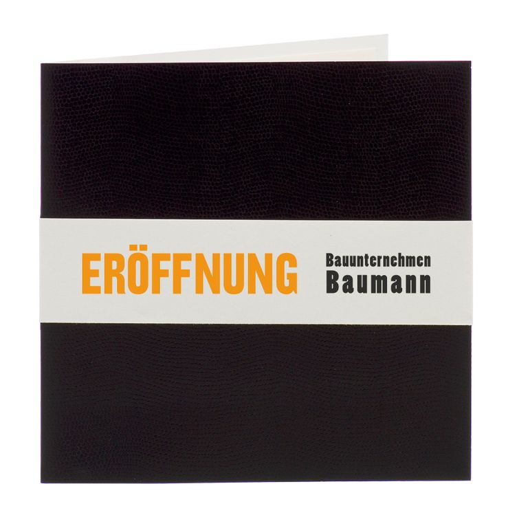 """Einladungen """"Eröffnung"""" im edlen Design mit Schlangenleder-Optik bestellen."""