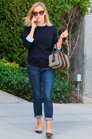 Reese Witherspoon - Style Inspiration. Cropped jeans with pointy flats.