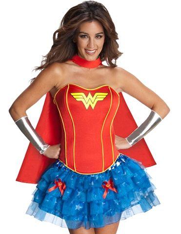 Love the Wonder Woman red corset and blue tutu! #loverslane #superhero #videogame #halloweencostume #sexycostume
