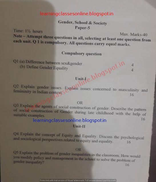 B Ed Kuk Gender School And Society Model Test Sample