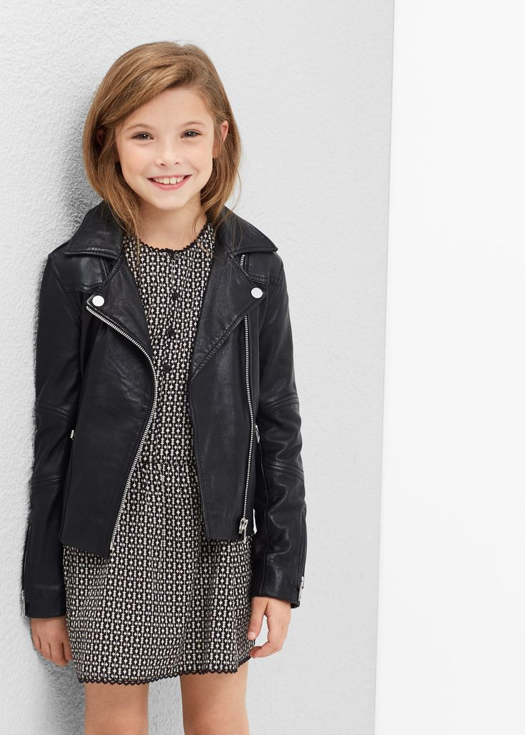 Zip leather jacket Girls in 2020 Little girl haircuts