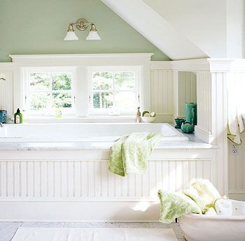 This tub + bubbles + a good book + a glass of wine = heaven!  This would be my dream bathroom; his would be more contemporary with a big tiled shower.