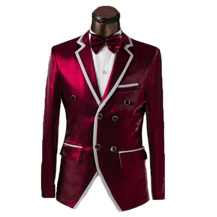 Red Wine Double Breasted Tuxedo Suit Luxury Attire Coat and tie