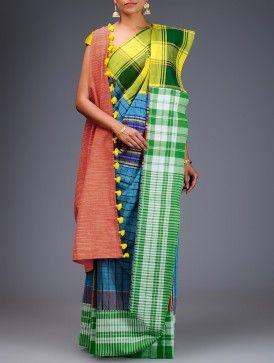 Blue-Multicolor Cotton Gamcha Saree