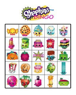 FREE Shopkins birthday party bingo game