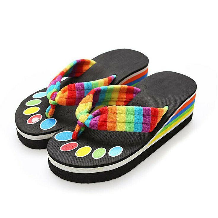 Nis Women Anti-slip Flip Flops Beach Slippers Platform Sandals Summer Wedge  #fa…