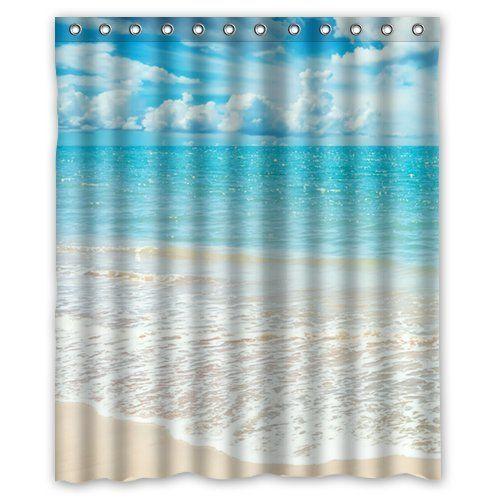 Sea Kitchen Curtains Amazon: Beach Theme Custom Ocean Waves California Paradise Shower
