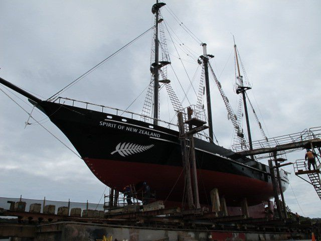 Spirit of NZ, at Ship Repair NZ, Tradeline doing their annual refit.