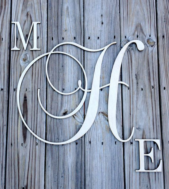 Wood Monogram  3 Letter Combo by inscribedmonograms on Etsy - For above my bed - in Grey or White?