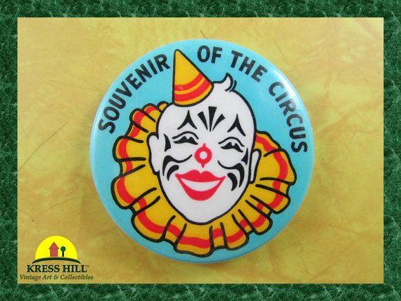 Retro Souvenir of the Circus Clown Pinback by KressHillVintage
