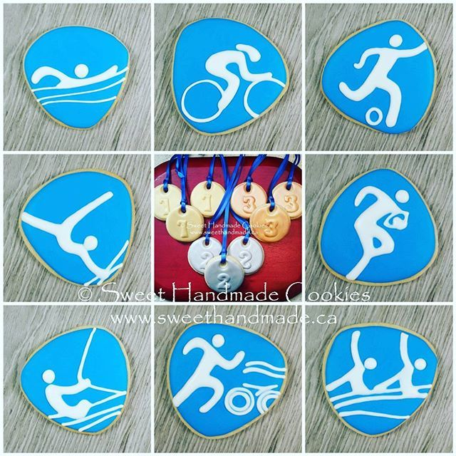Another Olympic event collage, this time featuring swimming, track cycling, football (soccer), artistic gymnastics, rugby 7, sailing, triathlon and synchronized swimming.  #sweethandmadecookies #customcookies #decoratedcookies #designercookies #cookies #bradfordontariocookies #olympiccookies #logocookies #swimmingcookies #trackcyclingcookies #footballcookies #soccercookies #artisticgymnasticscookies #rugby7cookies #sailingcookies #triathloncookies #synchronizedswimmingcookies