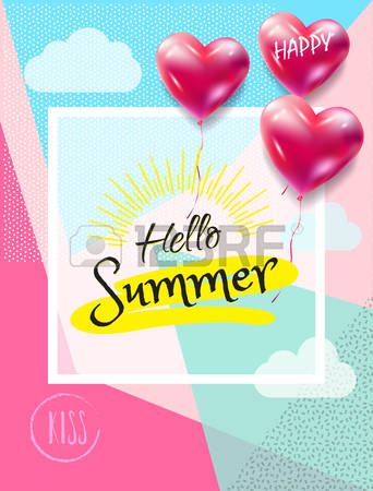 Hello Summer lettering, 3D heart balloons, clouds, abstract geometric background. Retro style. Trendy Gift card vector illustration. template
